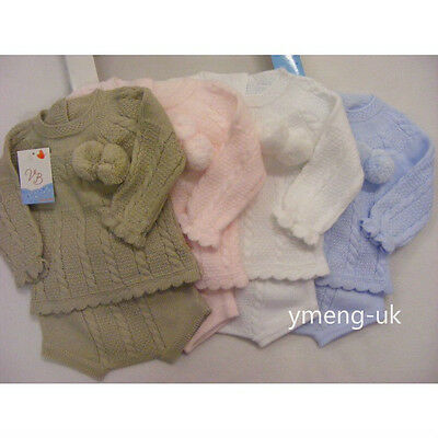 Gorgeous Baby Boy's Spanish Beige Knitted Suit with Cable Stitch Pom and Shorts