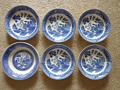 "6 Vintage Blue Willow Bowls 7.75"" Japan (5) & Homer Laughlin 8"" (1)"