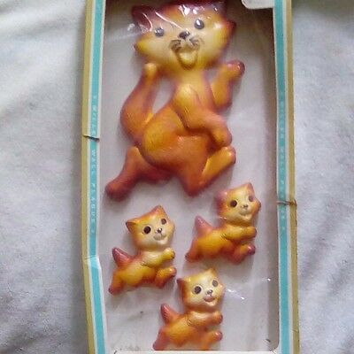 Vintage Hand Painted Wall Plaques with One Cat and Three Kittens in Original Box