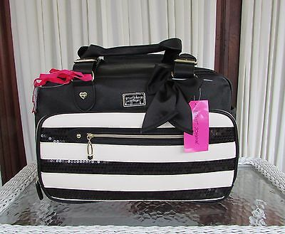 Betsey Johnson Black Sequin Striped Diaper Bag Weekender Baby Be Mine Tote  NWT d857eabd6fe0b