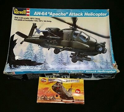 Revell AH-64 Apache and Airfix Boeing UH-46 Sea Knight Helicopters Model Kits