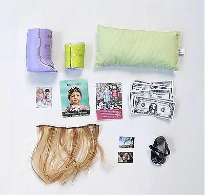 Lot of American Girl Doll Accessories - Cast, Money, Pillow, Hair, Shoe, Papers
