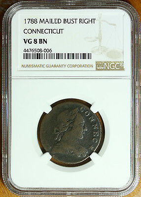 1788 Connecticut Copper Mailed Bust Right NGC VG8 BN