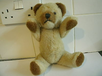 "VINTAGE 1950's 1960's ADORABLE 10"" TEDDY BEAR WITH SQUEAKER JOINTED MOHAIR STRAW"