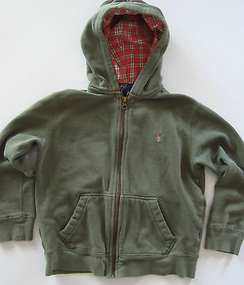POLO RALPH LAUREN kids 6 Green Hoodie full zip Sweatshirt Plaid hood lining EUC