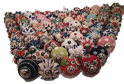 20Pcs Door Knobs Handles Pull Multicolor Vintage Assorted Ceramic Cabinet Drawer