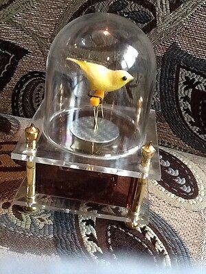 Vintage Yellow Dancing Bird In Domed Music Box Acrylic Base-Japan Works Great!