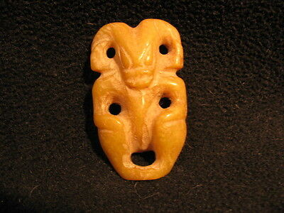 Honey Jade Zoomorphic Horned Creature Amulet