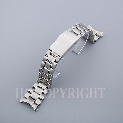 Stainless Steel Business Watch Band Replacement Curved End Solid Belt 22mm