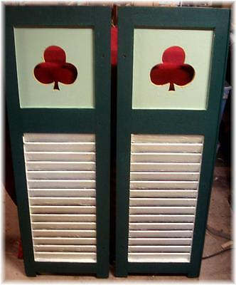 Antique Shutters Wooden Pair Key Lime Louvred Bottom Clover Cut Out Panel Top