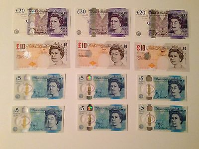 Lot of Great Britain England UK 5, 10, & 20 pound note w/ new polymer 5 pound