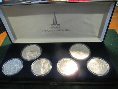 Rare Ussr 1980 Moscow  Olympic Silver  6 Coin Set In Box 5 & 10 Rubles