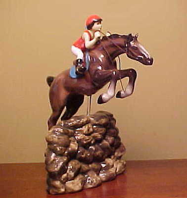 Hagen-Renaker Specialty #3326 JUMPING HORSE WITH RIDER - Ceramic Figurine
