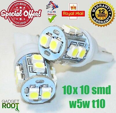 10 x 10 SMD LED 3528 T10 W5W PUSH WEDGE CAPLESS WHITE SIDE LIGHT BULBS 6000k