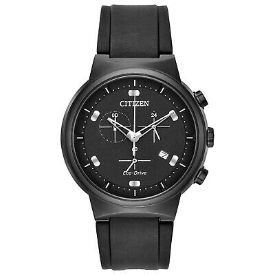 Citizen Men's Eco-Drive Paradex PU Band Black Dial Chronograph Watch AT2405-01E