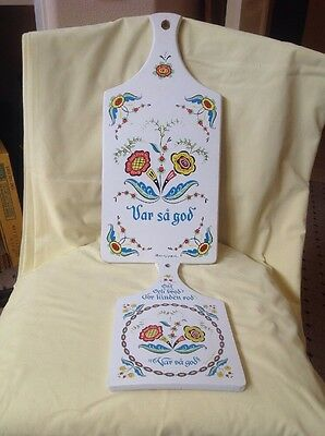 "Vintage Berggren Swedish Wood Cheese/Bread Boards Wall Hanging ""Var Sa God"" TWO"