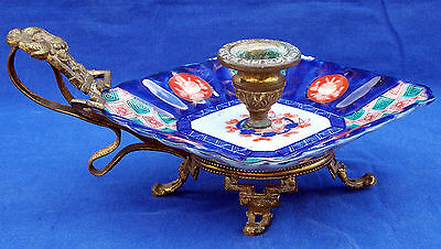 Fine 19th century French brass-mounted Imari porcelain chamberstick, circa 1870