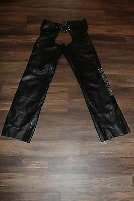 Harley Davidson Women's Leather Deluxe Leather Chaps 98097-06VW Size Small