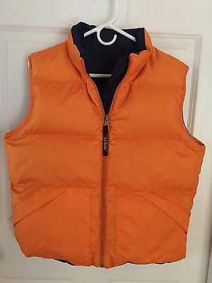 Womens Medium L.L. Bean Down Quilted Puffer Vest Reversible Blue & Orange