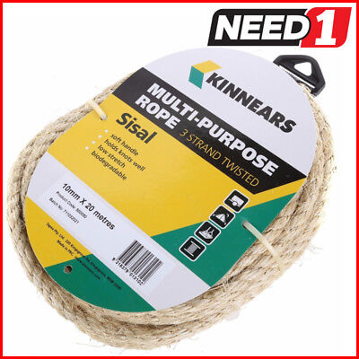 KINNEARS 3-Strand Multi-Purpose Sisal Rope 10mm x 20M PACKS OF 2, 3, 4 & 6