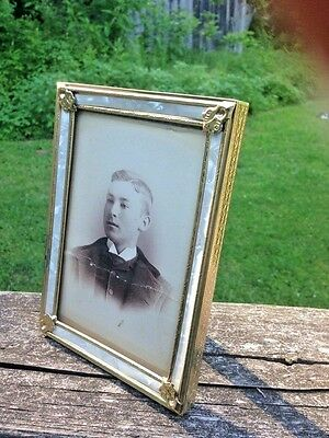 """Vintage Gold Metal Mother of Pearl like Trim Picture Frame-5"""" x 7"""""""