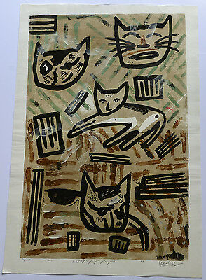 VERY LARGE LIMITED EDITION JAPANESE WOODBLOCK PRINT  By GASHU FUKAMI CATS