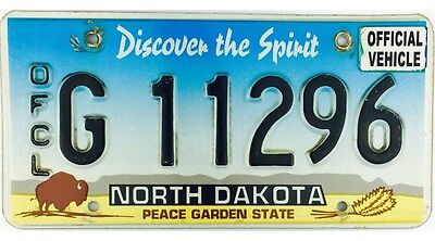 North Dakota OFFICIAL GOVERNMENT License Plate #11296