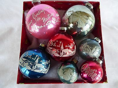 7 Vtg Shiny Brite Stenciled Glass Christmas Tree Ornaments Greeting Silent Night