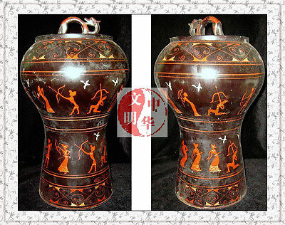 """DIAN NATION CoinContainer VESSEL ARCHER DRAGON WOOD ShellStorage LACQUER WARE15"""""""