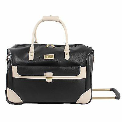 """Nicole Miller New York  20"""" Rolling Carry-On Weekender Tote Bag Color: Black Nwt"""