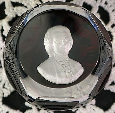 Baccarat Crystal Franklin Mint Bicentennial Cameo Paperweight Rousseau COA