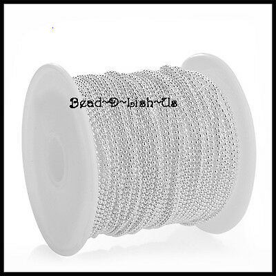 100 metre Roll 2.4mm/1.5mm BALL CHAIN  + 200 clasp DIY Necklace -  SILVER PLATED