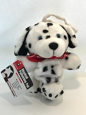 Kids II Puppy with Bandana Pull string CRIB Toy MUSICAL Red White Black Plush