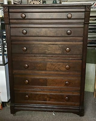 Antique Victorian East Lake Dresser With Side Lock & Key.    6 Drawer High boy