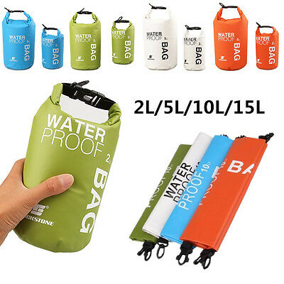 2/5/10/15L Waterproof Storage Dry Carry Bag Sack Backpack Pouch Boat Kayak AUBL