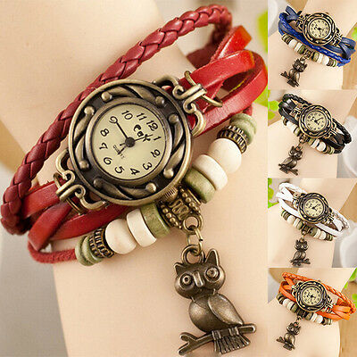 Girl Leather Bracelet Owl Pendant Decoration Movement Quartz Wrist Watch