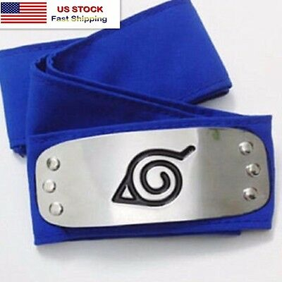 Naruto Anime Ninja Cosplay Forehead Band Protector Headband: Leaf Village (Blue)
