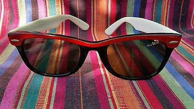 Ray Ban Wayfarer Street Neat 80's Cool Retro Vintage Sunglasses Red White Rare