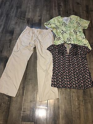 Izzy Scrub Light Khaki Or Tan Pants Small NWT & Healing Hands & SB Top Lot