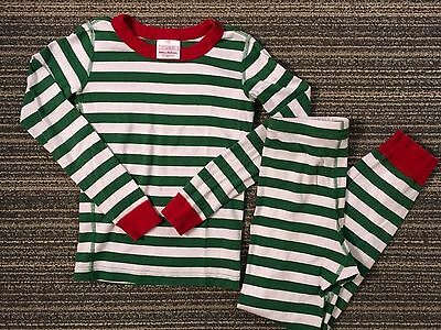 Hanna Andersson Christmas Pajamas Green White Red Stripe 130 US 8 Boy Girl