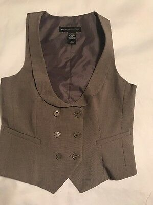 New York & Company Women's Vest Career Stretch Gray Tan Size 2