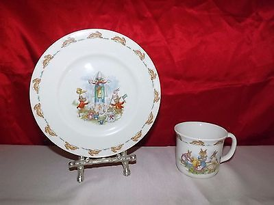 Bunnykins Cup and Plate / Royal Doulton 2 piece set / 1936