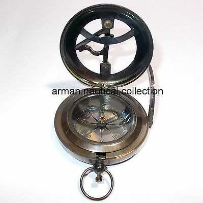 Antique Brass Nautical Push Button Compass Old Victorian Sundial Compass Decor$