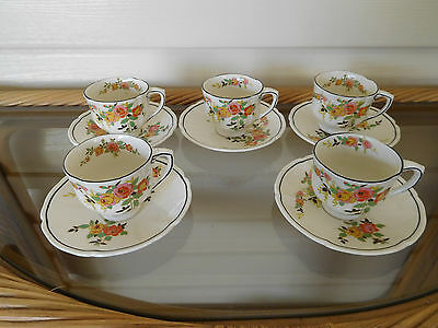 """Royal Doulton """"Rosslyn"""" Set Of 5 Coffee Cups And Saucers England 1930s"""