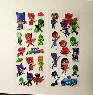 Pj Mask Sticker Party Loot Lolly Bag Treat Box Filler Gift Birthdays 6 Sheets