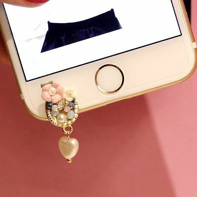 Anti Dust Plug For iPhone 6SPlus 6S 6 6 Plus 5 5S 5C SE Flowers with Pearl Love