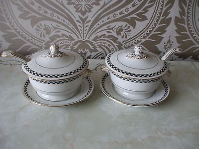 Vintage retro Adderley Pottery Pair of Serving Tureens & Ladles Black Chequer