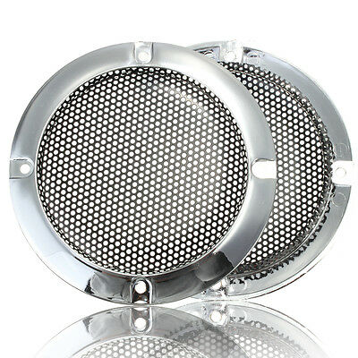 2X 4''inch Silver Circle Round Mesh Woofer Protective Grille Speaker Decorative
