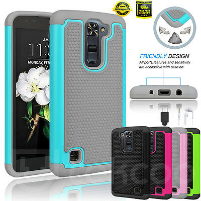 For LG Phoenix 2 Shockproof Hybrid Rubber Impact Defender Rugged Back Case Cover