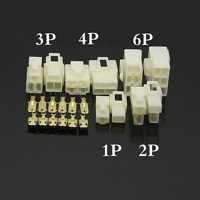 6.3mm Multi Connector Plug Sets 1 2 3 4 6 8 Way Pin Male + Female + Terminal